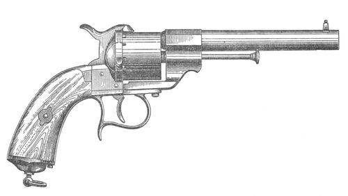 6-ти зарядный револьвер системы Лефоше. <br>