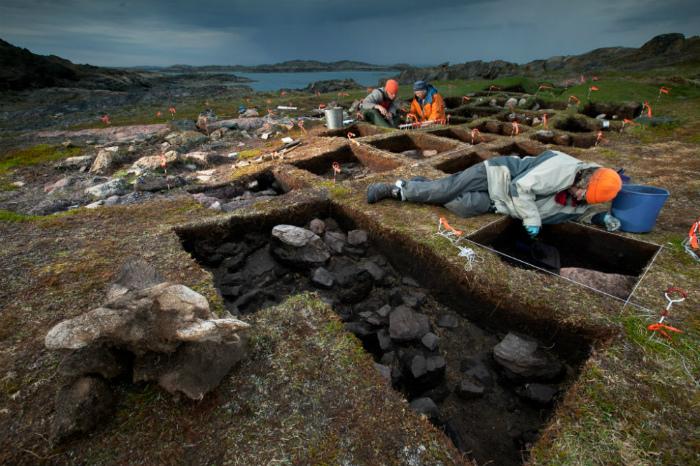 Раскопки открытого Сазерленд поселения.